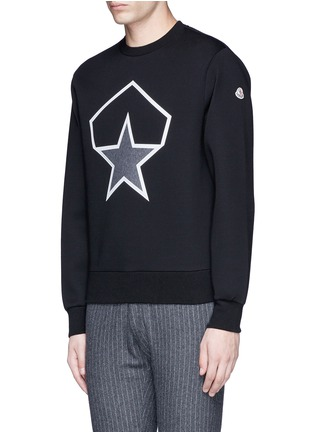 Front View - Click To Enlarge - Moncler - Taped star cotton neoprene sweatshirt