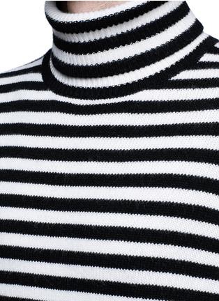 Detail View - Click To Enlarge - Moncler - Stripe virgin wool turtleneck sweater