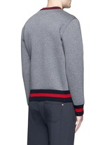 Contrast trim cotton neoprene sweatshirt