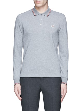 Main View - Click To Enlarge - Moncler - Long sleeve cotton piqué polo shirt