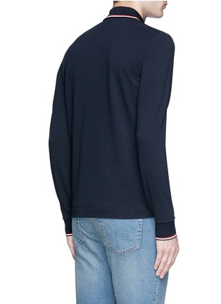 Back View - Click To Enlarge - Moncler - Long sleeve cotton piqué polo shirt