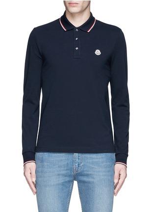 Moncler-Long sleeve cotton piqué polo shirt