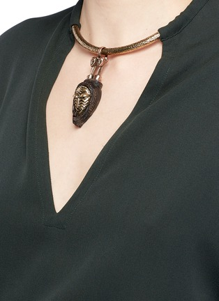 Detail View - Click To Enlarge - Valentino - Tribal mask torque pendant silk tunic shirt