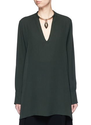 Valentino-Tribal mask torque pendant silk tunic shirt