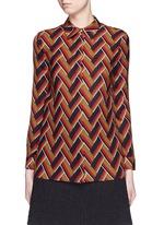 Chevron stripe silk-wool shirt