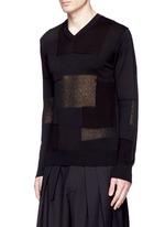 Patchwork cotton-wool-linen sweater