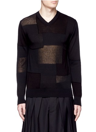 Main View - Click To Enlarge - Comme Des Garçons Homme - Patchwork cotton-wool-linen sweater