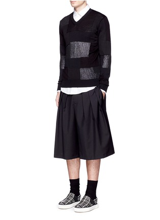 Figure View - Click To Enlarge - Comme Des Garçons Homme - Patchwork cotton-wool-linen sweater