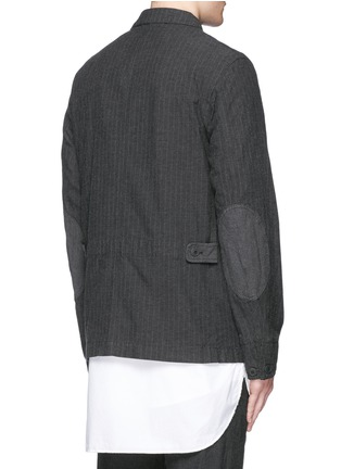 Back View - Click To Enlarge - Comme Des Garçons Homme - Stripe garment dyed cotton blend field jacket