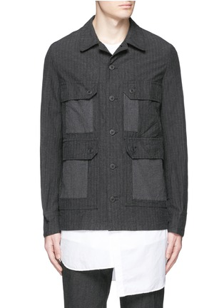 Main View - Click To Enlarge - Comme Des Garçons Homme - Stripe garment dyed cotton blend field jacket