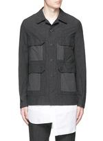 Stripe garment dyed cotton blend field jacket