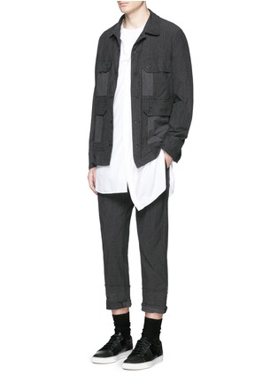 Figure View - Click To Enlarge - Comme Des Garçons Homme - Stripe garment dyed cotton blend field jacket