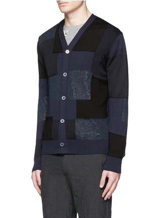 Front View - Click To Enlarge - Comme Des Garçons Homme - Patchwork cotton-wool-linen cardigan