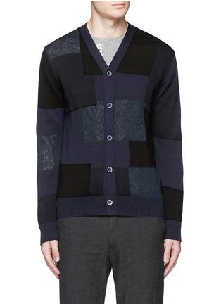 Main View - Click To Enlarge - Comme Des Garçons Homme - Patchwork cotton-wool-linen cardigan