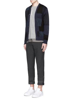 Figure View - Click To Enlarge - Comme Des Garçons Homme - Patchwork cotton-wool-linen cardigan