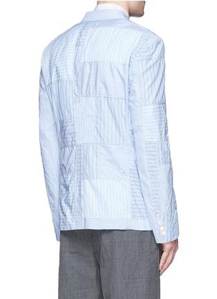 Back View - Click To Enlarge - Comme Des Garçons Homme - Stripe patchwork soft cotton blazer