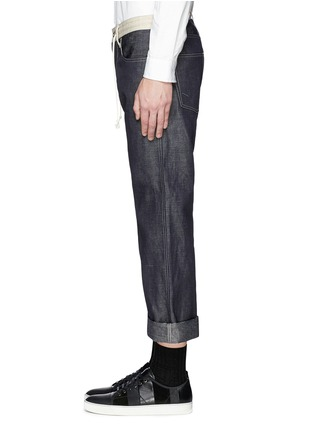 Detail View - Click To Enlarge - Comme Des Garçons Homme - Contrast drawstring waist cotton-linen jeans