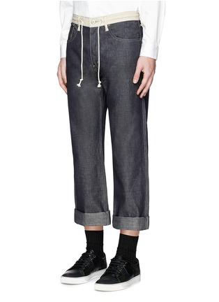 Front View - Click To Enlarge - Comme Des Garçons Homme - Contrast drawstring waist cotton-linen jeans