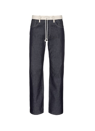 Main View - Click To Enlarge - Comme Des Garçons Homme - Contrast drawstring waist cotton-linen jeans