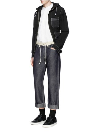 Figure View - Click To Enlarge - Comme Des Garçons Homme - Contrast drawstring waist cotton-linen jeans