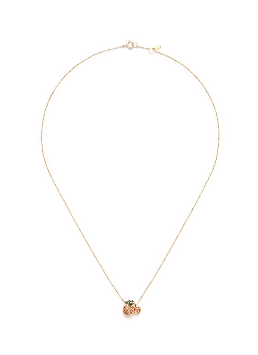 And the little ones. Fruit garnet sapphire 18k yellow gold pendant necklace by Bao Bao Wan
