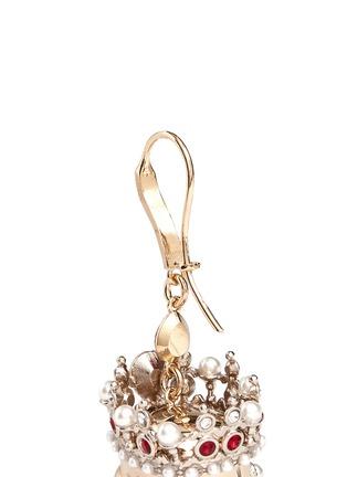Detail View - Click To Enlarge - Alexander McQueen - Swarovski crystal royal skull earrings