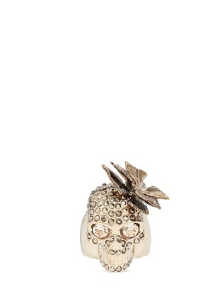 Main View - Click To Enlarge - Alexander McQueen - Butterfly skull Swarovski crystal ring