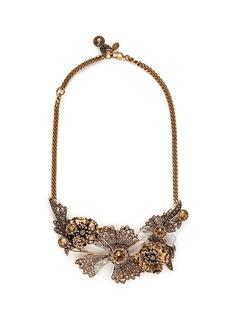 ALEXANDER MCQUEEN Swarovski crystal floral statement necklace