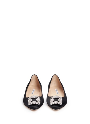 Front View - Click To Enlarge - Manolo Blahnik - Hangisi' crystal brooch satin skimmer flats