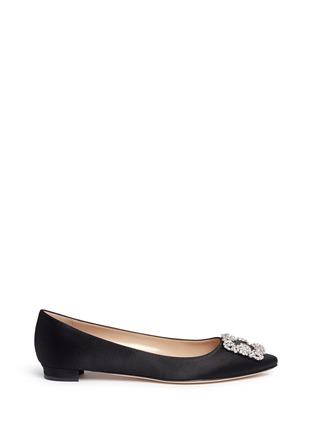 Main View - Click To Enlarge - Manolo Blahnik - Hangisi' crystal brooch satin skimmer flats