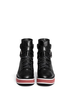 ROBERT CLERGERIE'Irma' platform leather combat ankle boots