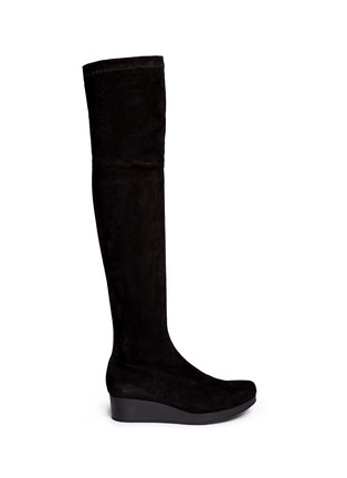 Main View - Click To Enlarge - Robert Clergerie - 'Natuj' stretch suede wedge thigh high boots