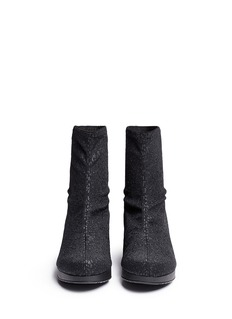 ROBERT CLERGERIE'Nerdy' glitter leopard stretch wedge ankle boots