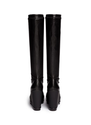 Back View - Click To Enlarge - Robert Clergerie - 'Sostij' stretch leather wedge knee high boots