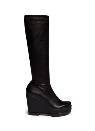 Main View - Click To Enlarge - Robert Clergerie - 'Sostij' stretch leather wedge knee high boots