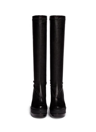 Figure View - Click To Enlarge - Robert Clergerie - 'Sostij' stretch leather wedge knee high boots