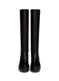 ROBERT CLERGERIE'Sostij' stretch leather wedge knee high boots