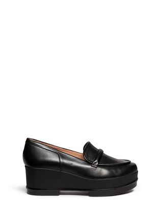 Main View - Click To Enlarge - Robert Clergerie - 'Yokolej' leather wedge platform loafers
