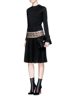 ALEXANDER MCQUEENLace embroidery panel plissé pleat silk skirt