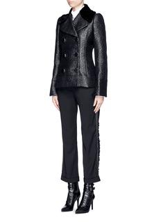 ALEXANDER MCQUEENShearling collar embossed rose jacquard jacket