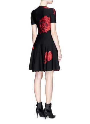 Back View - Click To Enlarge - Alexander McQueen - Rose jacquard knit flare dress