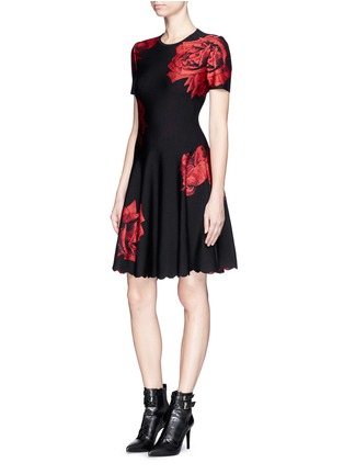 Front View - Click To Enlarge - Alexander McQueen - Rose jacquard knit flare dress