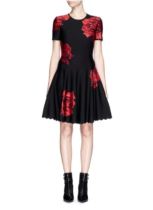 Main View - Click To Enlarge - Alexander McQueen - Rose jacquard knit flare dress