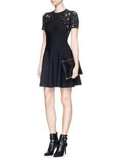 ALEXANDER MCQUEENCutout rose jacquard knit flare dress
