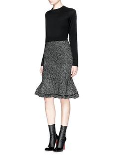 ALEXANDER MCQUEENFlounce hem wool-cashmere knit skirt