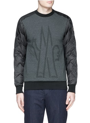 Main View - Click To Enlarge - Moncler Grenoble - Quilted down sleeve logo sweatshirt