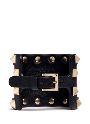 Back View - Click To Enlarge - Valentino - 'Rockstud' colourblock leather bracelet