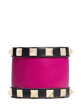 Main View - Click To Enlarge - Valentino - 'Rockstud' colourblock leather bracelet