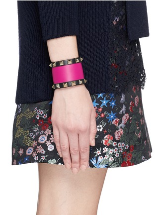 Figure View - Click To Enlarge - Valentino - 'Rockstud' colourblock leather bracelet