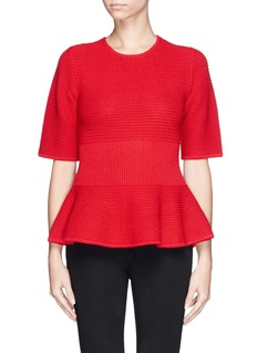 ST. JOHN Peplum textured knit top